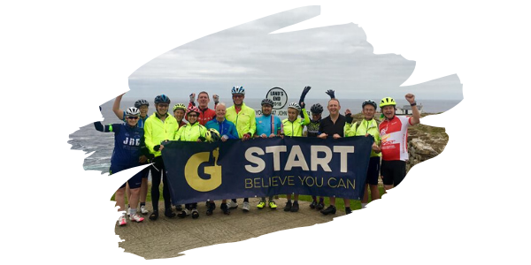 Participants on the start of their Land's End to John O'groats cycle