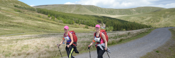 People trekking on a charity challenge